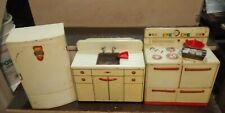 rare ! Vintage wolverine metal kitchen set, stove,refrigerator,cabinet sink