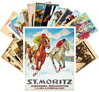 Postcards Pack [24 cards] Horse Races Derby Equestrian Vintage Posters CC1095