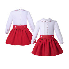 Christmas Toddler Girls Spanish Blouse Top Skirt Sets Wedding Party Outfits Red