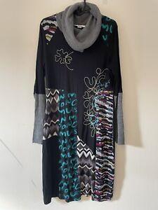 Linea Tesini Black Dress Embroidery Floral Roll Neck Size 12 R6