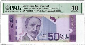 COSTA RICA 50,000 Colones 2009, P-279a, PMG 40 Extremely Fine, Rare Type