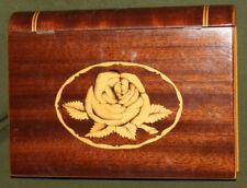 Vintage hand made wood trinket box book shape