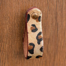 Leopard Print Leather Drawer Pull Door Handle | Natural Leather Loop Pull Knob