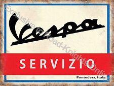Vintage Garage Vespa Scooter Service Mods 2 Wheels Italian Medium Metal/Tin Sign