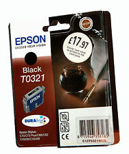 2 xgenuine EPSON T0321 cartouche d'encre noire pour STYLUS C70/C70/C80/CX5200/CX5400
