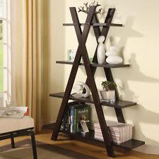 Contemporary Cappuccino Bookcase X Design Bookshelf Storage Shelves by Coaster