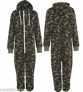 UNISEX MENS ARMY MILITARY PRINT ZIP UP 1ONESIE ALL IN ONE HOODED JUMPSUIT S-XL