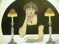 Coles Phillips Fadeaway Girl FOOD DINNER 1912 Art Matted