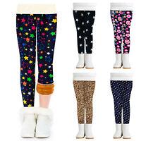 Kids Girls Winter Cotton Warm Leggings Thick Thermal Fleece Pants Print Trousers