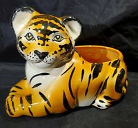 Vintage Hollywood Regency Porcelain Tiger Statue Figure Planter Italy