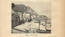 Stampa antica SORRENTO veduta della marina grande Napoli 1891 Old antique print