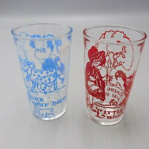 """Vintage 1940's Little Red Riding Hood & Little Boy Blue Collectible 4.5"""" Glasses"""