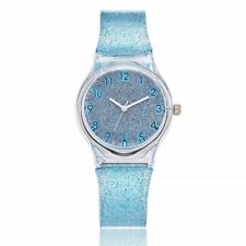 Silicone Strap Transparent Glass Wrist Band Colorful Quartz Wristwatches Watch