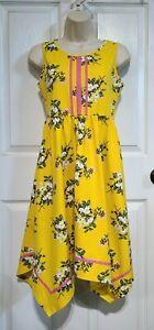 NWOT Matilda Jane Brilliant Daydream Lets Begin Dress Girls Sz 14 Floral Yellow