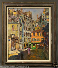 European Street Scene Oil Painting signed Pal Fried (American/Hungarian)