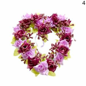 New Heart Shaped Rose Artificial Flowers With Flower Garland For Door Wall Decor