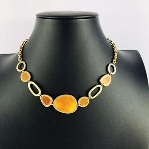 Amber Style Gold Tone Statement Necklace Costume Jewellery Boho Minimalist