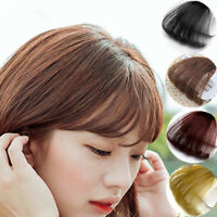 Lady Thin Neat Air Bang False Fake Hair Extension Clip In Fringe Front Hairpiece
