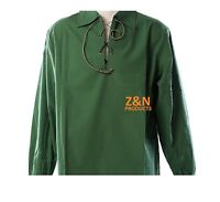 Scottish Green Jacobite Ghillie Kilt Shirt Leather Cord Sizes S - - 5XL