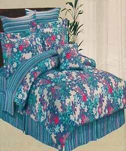 FLOWERS BOUQUET TWIN COMFORTER SHEETS SHAM BEDSKIRT PILLOW 7PC BEDDING SET NEW