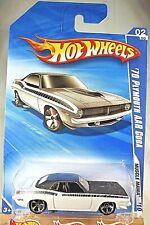 2010 Hot Wheels #80 Muscle Mania 2/10 '70 Plymouth Aar Cuda White Variant wMc5Sp