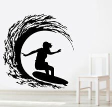 VINILO DECORATIVO COCHE PARED SALÓN CASA DECORACION WALL STICKER-SURFER WAVE 1G
