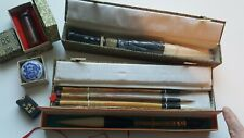 New listing Antique Chinese Calligraphy Brushes,Hancarved Mao Bi,stamp,ink,etc