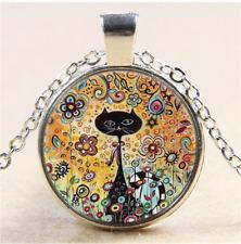 Flower Black Cat Photo Cabochon Glass Tibet Silver Chain Pendant Necklace#CI14