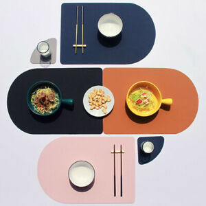 PU Leather Placemat Coaster Heat Insulation Non-Slip Dining Table Mat Dual Sided