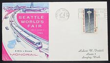 US World's Fair Monorail Cachet Cover Seattle Space Needle 4c USA Brief (Y-321