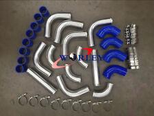 "2.5"" 64 mm Aluminum Universal Intercooler Turbo Piping pipe Kit + Blue hose kits"