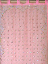 "Pink Curtain Panel - Zardozi Embroidered Beaded India Window Treatments 92"""