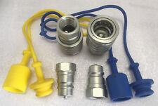 """2 x Hydraulik Kupplung 1/2"""" IG Stecker + Muffe 1/2 BG3 mit Schutz blau gelb Gr.3"""