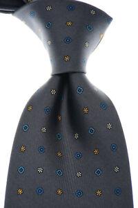 E. Marinella Tie Silk Gray Blue Orange Geometric New Old Stock
