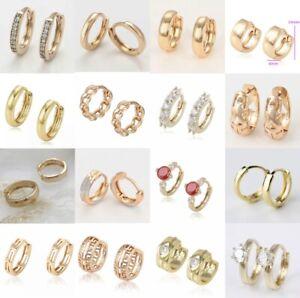 SALE 9K 9ct Gold Filled Ladies Girl Kid Men Sleeper Hoops Huggies Earrings+Pouch