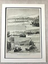 1882 The University Boat Race Oxford Cambridge River Thames Antique Print