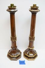 """+ Pair of Carved Wood Gothic Church Altar Candlesticks + 21 1/2"""" ht + (CU229)"""