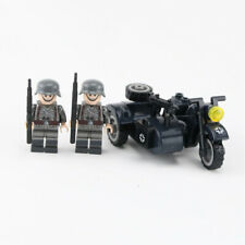 WW2 German motorcycle with sidecar plus 2 solider fit lego brick minifigure uk