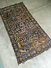 Stunning Tree of Life Pictorial Afghan Nomad Carpet, Natural Vegetable Pictorial