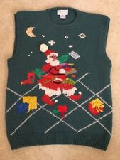 Ugly Christmas Sweater Vest Roberta Frost Women's Medium 100% Wool Hand-Knitted