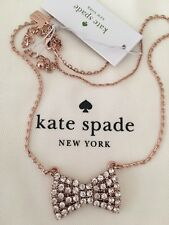 NWT Kate Spade Sparkling Bow Mini Pendant CLEAR/ROSE GOLD Necklace