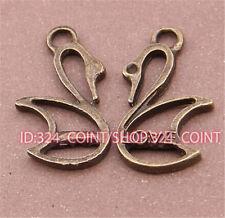 P546 12pc Antique Bronze Swan Pendentif Perle Charms Accessoires en Gros