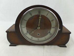 Vintage Art Deco Wooden Bentima Westminster Chiming Mantel Clock No Key