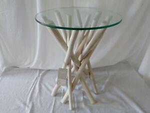Tavolino moderno in rami di teak sbiancati