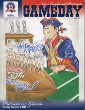 Phil Bissell Autographed 2009 New England Patriots Vs New York Giants Program