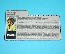 1988 GI JOE WINDMILL v1 SKYSTORM PILOT FILE CARD FILECARD FR BENELUX HASBRO