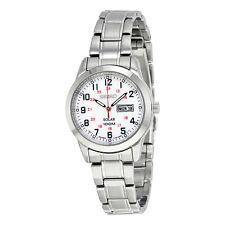 Seiko Solar White Dial Stainless Steel Ladies Watch SUT167
