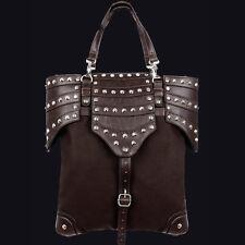 RESTYLE BROWN ARMOUR BAG. STEAMPUNK. VICTORIAN GOTHIC. 90'S STYLE. BROWN DENIM.