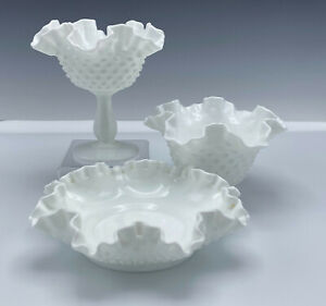 Fenton Milk Glass Hobnail Footed Compote Low Flat Bowl Flared Bowl 3 Pieces