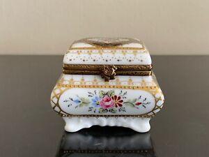 Limoges France Exquisite Cardinet Hand Painted Porcelain Chest Trinket Box
